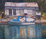 Shed Painting Framed Prints - Boat and Shed St. Davids Framed Print by Otto Trott