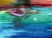 Peaceful Scene Paintings - Boat and the buoy by Anil Nene