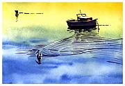 Anil Nene Mixed Media Posters - Boat and the seagull Poster by Anil Nene