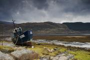 Overcast Day Prints - Boat Ashore, Loch Sunart, Scotland Print by John Short