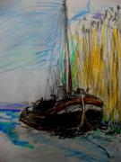 Color Pencil And Pencil Drawings - Boat At  Dock by Allen n Lehman