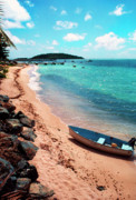Puerto Rico Posters - Boat Beach Vieques Poster by Thomas R Fletcher