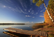 Canada Prints - Boat dock and autumn trees along a Saskatchewan Lake Print by Mark Duffy