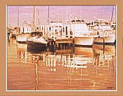 Boats At Dock Prints - Boat Dock At Sunset3 Print by John Breen