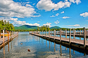 Waterscape Drawings Posters - Boat Docks Lake George New York Poster by Anne Kitzman