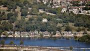 Boathouse Row Photos - Boat House Row Philadelphia with Helicopter by Duncan Pearson