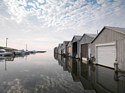 Docked Boats Prints - Boat Houses at Lake Erie Print by Oleksiy Maksymenko