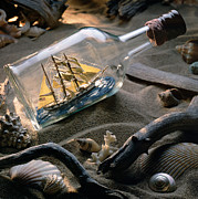 Sea Shells Photos - Boat in a bottle by Bob Nardi