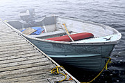 Melancholy Photos - Boat in a fog by Elena Elisseeva