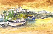 Sunsets Drawings Posters - Boat in Agia Galini 03 Poster by Miki De Goodaboom
