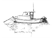 Maine Drawings Posters - Boat in Casco Bay Poster by Dominic White