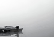 Rowboat Digital Art Posters - Boat in Fog on Lake Black and White Poster by Randy Steele