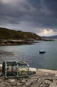 Lobster Pots Framed Prints - Boat In The Water, Loch Sunart, Scotland Framed Print by John Short