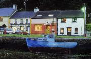 Night Cafe Posters - Boat Moored At A Harbor, Kinvara Poster by The Irish Image Collection