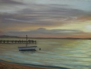 New Jersey Pastels Originals - Boat on Bay by Joan Swanson