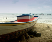 Fishingboat Posters - Boat on Beach Poster by Philip Sweeck