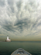 Seascape With Clouds Posters - Boat On Calm Sea With Stormy Sky And Lighthouse Poster by Jill Battaglia