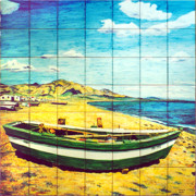 Coast Ceramics Posters - Boat on Fuengirola beach Poster by Jose Angulo