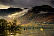 Woodland Scenes Prints - Boat On Lake Derwent, Cumbria, England Print by John Short