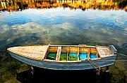 Silvia Ganora Metal Prints - Boat on lake Metal Print by Silvia Ganora
