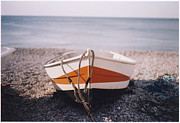 Horizon Metal Prints - Boat On Pebble Beach Metal Print by Deborah Leca