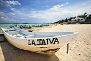 Charters Prints - Boat on  Playa Del Carmen Print by George Oze