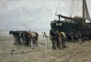 Scheveningen Framed Prints - Boat on the Beach at Scheveningen Framed Print by Anton Mauve