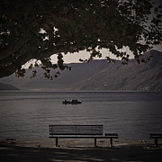 Autumn Foliage Photo Posters - boat on the Lago Maggiore Poster by Joana Kruse