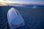 Sandy Beach Posters - Boat on the New Jersey Shore at Sunset Poster by George Oze