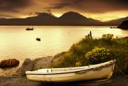 Overcast Day Prints - Boat On The Shore At Sunset, Island Of Print by John Short