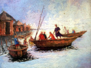 Waterside Paintings - Boat Peaple by Etim Ekpenyong