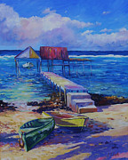 Bay Islands Prints - Boat Shed and Boats Print by John Clark