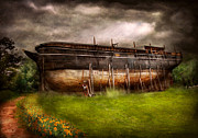 Story Prints - Boat - The construction of Noahs Ark Print by Mike Savad