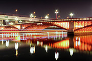 River  Photography Prints - Boat Trails Under Bridge At Night Print by By Counteragent