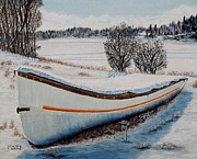 Boat Under Snow Print by Marilyn  McNish