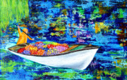 Impressionistic - Boat with Flowers by Pauline Ross