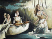 Fabric Paintings - Boat Women on the Banks by Jacque Hudson-Roate