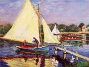 Boaters Painting Prints - Boaters at Argenteuil Print by Peter Kupcik