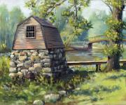 Concord Massachusetts Painting Prints - Boathouse and Battle Bridge Print by Steven A Simpson