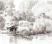 Waterscape Drawings Prints - Boathouse Print by Kevin Lawrence Leveque