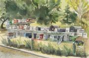 Sausalito Painting Posters - Boathouse Mailboxes Poster by Kate Peper