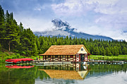 Rocky Mountain Prints - Boathouse on mountain lake Print by Elena Elisseeva