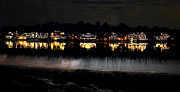 """schuylkill River""  Prints - Boathouse Row After Dark Print by Bill Cannon"