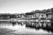 Schuylkill Prints - Boathouse Row in Black and White Print by Bill Cannon