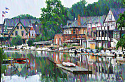 Row Boat Digital Art Prints - Boathouse Row in Philadelphia Print by Bill Cannon