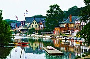 Rowing Crew Digital Art Posters - Boathouse Row in Philly Poster by Bill Cannon