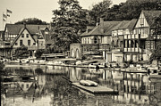 Boathouse Row Philadelphia Prints - Boathouse Row in Sepia Print by Bill Cannon