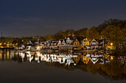Rowing Posters - Boathouse Row Poster by John Greim