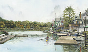 Sculls Paintings - Boathouse Row by Keith Mountford