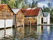 Wooden Building Digital Art Posters - Boathouses on the Torch River ll Poster by Michelle Calkins